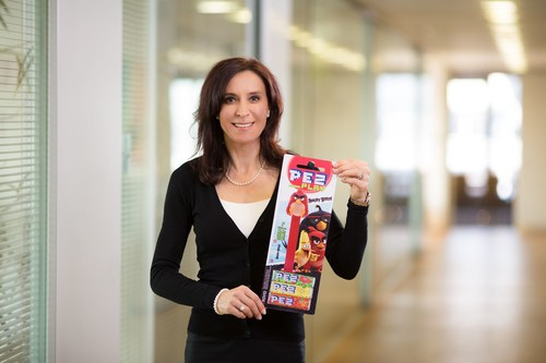 "Head of Marketing Gabriele Hofinger with the new PEZ dispenser ""Angry Birds"" (PRNewsFoto/PEZ ..."