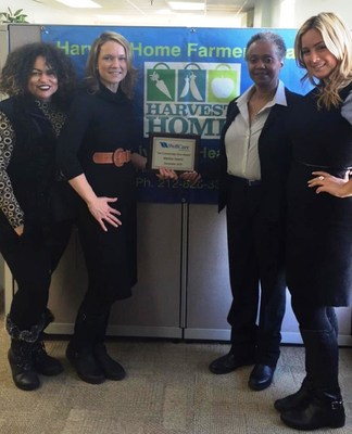 On the left: Harvest Home board members Rhina Valentin and Ryan Rugg Shapiro. On the right: Maritza Owens, Founder and CEO of Harvest Home, holding her CommUnity Hero Award, and Maria Auciello, WellCare of New York's supervisor of advocacy and community based programs.