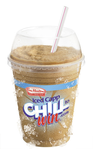 Tim Hortons Cafe & Bake Shop promotes the Iced Capp, its official summer drink, with its new Chill to Win contest.  (PRNewsFoto/Tim Hortons Inc.)