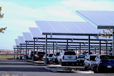 Solar panels will be installed in parking lots and open space. Photo: PsomasFMG's Knight High School project with the Antelope Valley Union High School District.  (PRNewsFoto/PsomasFMG)