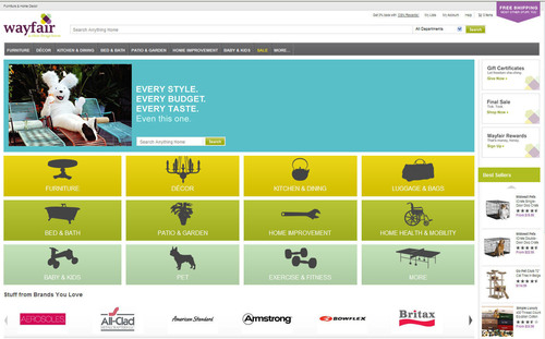 Wayfair.com, a new mega-site that has the largest catalog of home items anywhere -- online or offline -- has ...