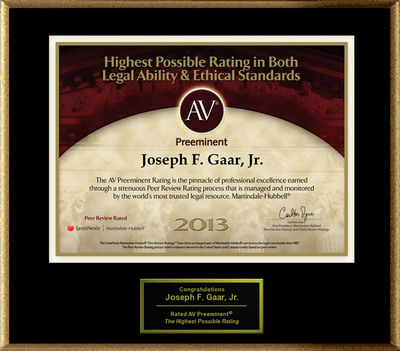 Attorney Joseph F. Gaar, Jr. has Achieved the AV Preeminent(R) Rating - the Highest Possible Rating from Martindale-Hubbell(R).  (PRNewsFoto/American Registry)