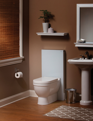 Geberit Monolith replaces the traditional bulky toilet tank with a slim, sleek housing in brushed metal and black or white glass, saving space and offering new possibilities in bathroom design. (PRNewsFoto/Geberit North America)