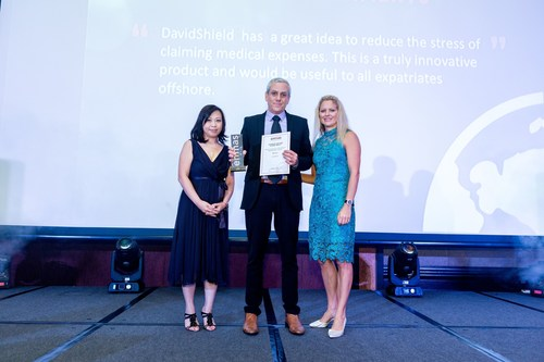 Ilan Gat, CEO, DavidShield, Accepts Winning Award for Most Innovative Use of Technology in Global Mobility at the Forum of Expatriate Management APAC Summit 2016 (PRNewsFoto/DavidShield)