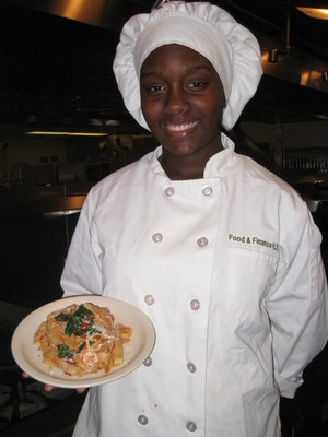 C-CAP Meatless Monday Pasta Recipe Contest 1st prize winner of $5,000 scholarship is Danielle Rivers of Food and Finance High School, NYC, for Pappardelle with Mushrooms, Baby Spinach and Roasted Tomato Sauce. She also wins a Canyon Ranch all-inclusive stay where she will be able to experience healthy-cooking practices first-hand from Corporate Chef Scott Uehlein. (PRNewsFoto/The Monday Campaigns)