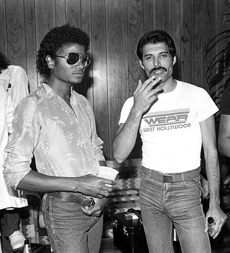 Michael Jackson visits Freddie Mercury backstage. Los Angeles 1980. (PRNewsFoto/Hollywood Records)