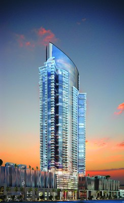 Rendering of Miami Worldcenter's signature luxury residential tower, PARAMOUNT Miami Worldcenter
