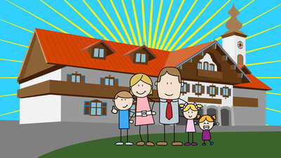 As seen in the new animated video created for the Bavarian Inn Lodge by Epipheo, the Stixx family in front of the Lodge after a great getaway. Video can be seen on YouTube at http://youtu.be/y2uudjpECik.  (PRNewsFoto/Bavarian Inn Lodge)