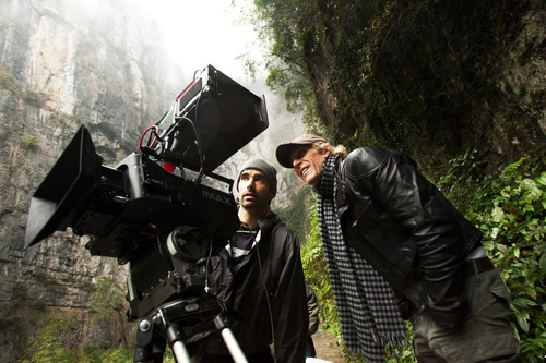 Director/Executive Producer Michael Bay (far right) on the China set of TRANSFORMERS: AGE OF EXTINCTION, from ...