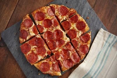 UNO Super Roni Thin Crust Pizza:  Pepperoni, mozzarella, aged cheddar and Romano.