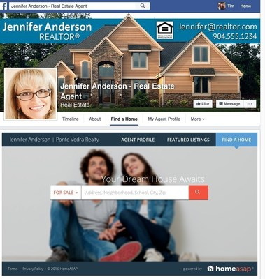 Homeasap home search integrated into agent Facebook Business Page