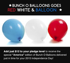 Backers can up their pledge by $12, and a pack of 3 stems (100 balloons total) in red, white and blue will be added to their order. (PRNewsFoto/Tinnus Enterprises, LLC)
