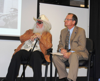 Grammy Award-winning Oklahoma rock music legend Leon Russell made an appearance in Tulsa, Okla. on Tuesday to help announce that a collection of more than 4,500 items featuring him and his work has been acquired by the Oklahoma Historical Society for display at the future Oklahoma Museum of Popular Culture. Russell is pictured here with Dr. Bob Blackburn, executive director of Oklahoma Historical Society.  (PRNewsFoto/George Kaiser Family Foundation)