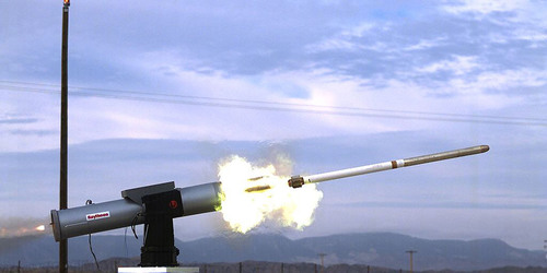 Raytheon's TALON laser-guided rocket is fired from an L-3 Communications remote weapon station using an ...