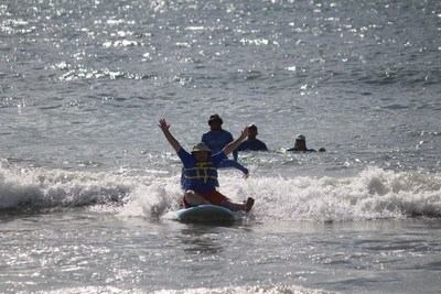 John Goubeaux surfs at a recent Wounded Warrior Project event in North Carolina.