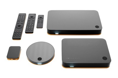 ARRIS previews the evolution of its set-top design at IBC 2014. These new devices feature powerful HEVC decode capability and 802.11ac Wi-Fi(R) in elegant new form factors to deliver the future of entertainment. (PRNewsFoto/ARRIS Group, Inc.)
