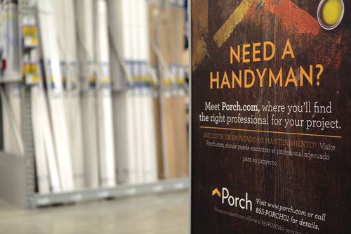 Every Lowe's store in the country now features Porch as the in-store resource to help homeowners find the right home improvement professionals for nearly any project outside of Lowe's current installation services. (PRNewsFoto/Lowe's Companies, Inc.)