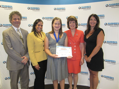 Essay Contest Grand Prize Winner Meagan Ochtera and representatives of her school were presented with Essay ...