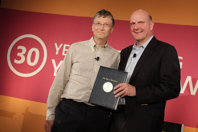 Microsoft CEO Steve Ballmer and Chairman and Founder Bill Gates commemorated Microsoft's 30th Employee Giving Campaign during a special town hall event today and announced that Microsoft employees have raised $1 billion in cash since 1983 for more than 31,000 nonprofits and community organizations in the U.S. and around the world.  Redmond, Wash. - Oct. 18, 2012.  (PRNewsFoto/Microsoft Corp.)