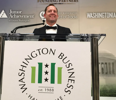 PenFed Credit Union President and CEO James Schenck speaks to 1,300 supporters at the Washington Business Hall of Fame Gala which raised $1.3 million for Junior Achievement