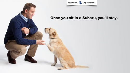 """Subaru to debut newest """"Dog Tested. Dog Approved.(TM)"""" Commercials during Animal Planet's Puppy Bowl IX.  (PRNewsFoto/Subaru of America, Inc.)"""