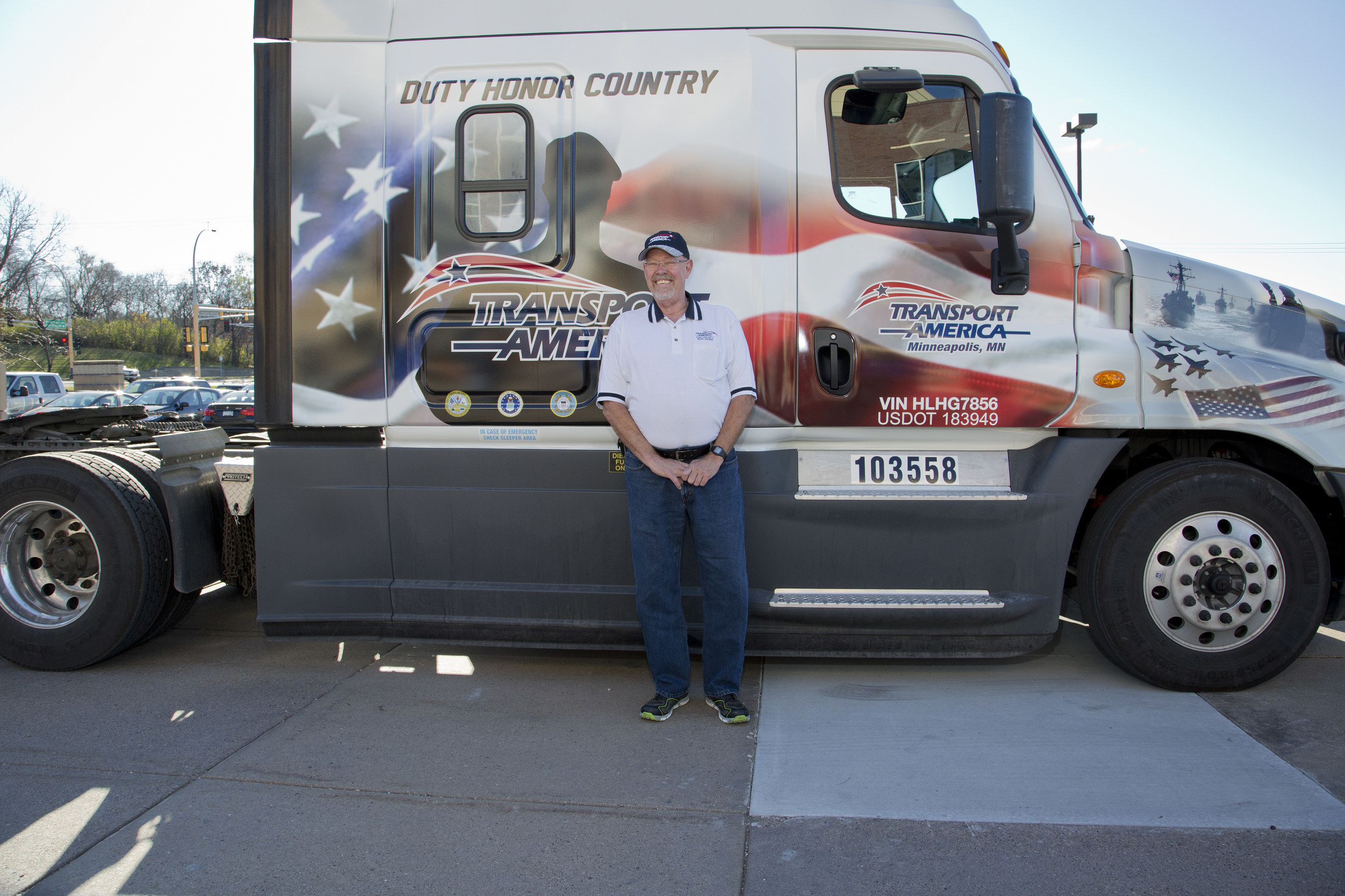 Transport America recognizes one of their drivers and military veteran, Robert Harp, on Veteran's Day with a custom military truck wrap. Robert was in the Army Airborne having two years of active duty and 25 years in the reserves. Robert has been a driver with Transport America since 1998.