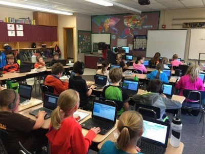 """Canton Central School third graders participate in the """"Hour of Code"""" as one of the activities of the NEF STEM+ Academy Program. Canton Central School wins the 2016 NEF STEM+ Leadership Merit Award!"""