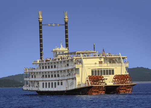 The 700-seat Showboat Branson Belle, an authentic paddle wheeler, offers lake cruises with a three-course meal and show. (PRNewsFoto/Silver Dollar City)