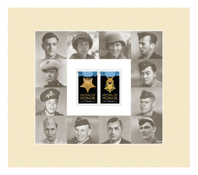 The U.S. Postal Service today dedicated the World War II Medal of Honor Forever stamps - Living Recipients Appear on Stamp Sheet.  (PRNewsFoto/U.S. Postal Service)