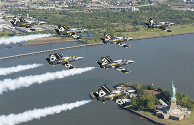 The Breitling Jet Team fly in formation over Statue of Liberty in New York City. The team, who represent the independent Swiss watch company Breitling, are embarking on their first-ever American Tour, comprised of nearly 20 air shows across the US and Canada. (Andy Wolfe/Breitling)