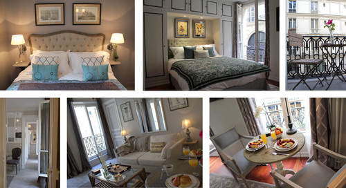 Live like a Parisian in a great style Paris apartment: bedroom, balcony, breakfast over streets of Paris.  ...