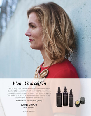 """All-natural beauty favorite Kari Gran is launching the """"Wear Yourself In"""" campaign (www.wearyourselfin.com), which challenges the status quo that a flawless face determines beauty and instead, celebrates aging and flaws as signs of a life lived and lessons learned. With the goal of creating a dialogue about beauty, aging, wisdom and self-acceptance, the """"Wear Yourself In"""" campaign is being brought to life through a series of original essays from female writers, business leaders and inspirational figures, each giving their own take on what it means to """"Wear Yourself In."""" Read more at www.wearyourselfin.com."""