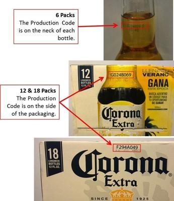 How to locate Production Codes on affected Corona Extra 12-ounce clear glass bottles and packaging. Cómo localizar códigos de producción en los paquetes y botellas de vidrio transparente de Corona Extra de 12 onzas.