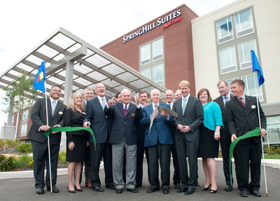 Industry Icons Mark the Pairing of Two World-Renowned American Brands as Arnold Palmer & Bill Marriott Open SpringHill Suites Latrobe in Palmer's Hometown - Ribbon-Cutting.  (PRNewsFoto/Marriott International, Inc.)