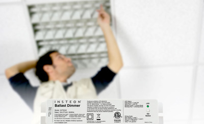 The NEW INSTEON Ballast Dimmer. Contractors and Electricians Rejoice. The new INSTEON Ballast Dimmer is two products in one: A 0-10V control module for electronic dimming ballasts and a dual-relay control module for traditional non-dimming fluorescent light ballasts. Installed alongside your fixture's existing relay fluorescent ballast or dimmable electronic ballast, Ballast Dimmer adds INSTEON control to a wide range of commercial-centric fluorescent lighting. And the best part: since INSTEON uses existing electrical wiring for command and control, there's no need to tear up the walls or spend hours in tight spaces running new electrical wiring. (PRNewsFoto/INSTEON) (PRNewsFoto/INSTEON)