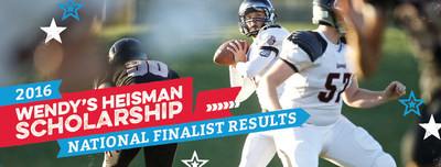 Wendy's and the Heisman Trophy Trust announce the 10 outstanding student-athletes whose continued commitment to raising the bar has qualified them as National Finalists of the Wendy's High School Heisman Scholarship. These National Finalists will receive an invitation to Wendy's Heisman Weekend in New York City and a $5,000 scholarship. Of this group, two will be announced National Winners on December 9 and recognized during ESPN's national telecast of the college Heisman Memorial Trophy presentation.
