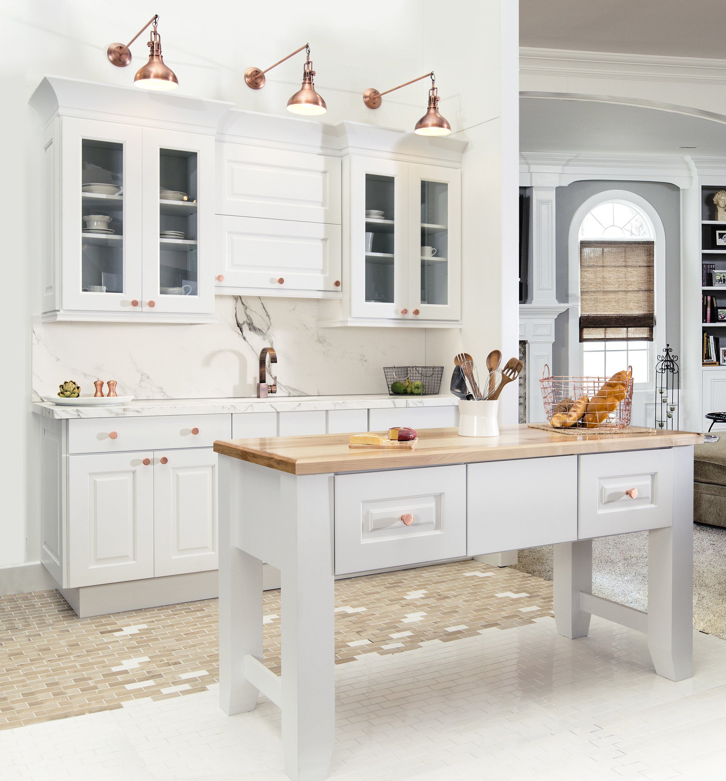 A timeless look displayed with Wellborn's new white paint called Porcelain!