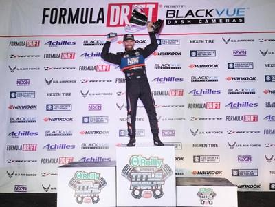 Hankook Tire driver Chris Forsberg celebrates his third Formula Drift championship season at Irwindale Speedway on October 8.