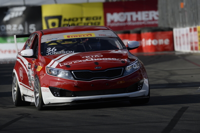 Kia Racing driver Nic Jonsson captures Kia's first victory of the 2014 Pirelli World Challenge season on the Streets of Long Beach. (PRNewsFoto/Kia Motors America)