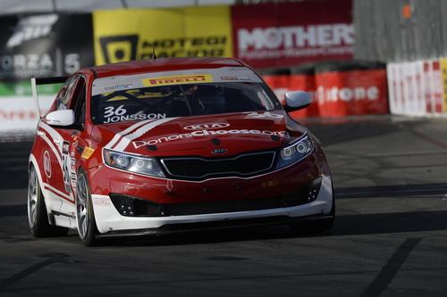 Kia Racing driver Nic Jonsson captures Kia's first victory of the 2014 Pirelli World Challenge season on the Streets of Long Beach. (PRNewsFoto/Kia Motors America)