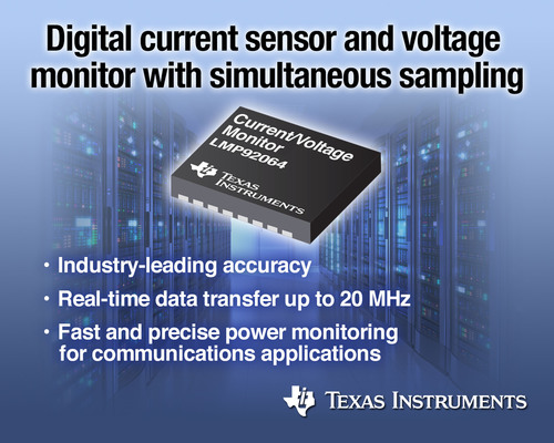 Digital current sensor and voltage monitor with simultaneous sampling.  (PRNewsFoto/Texas Instruments)