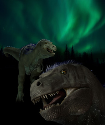 Paleontologists from the Perot Museum of Nature and Science in Dallas have discovered a new genus and species of a tyrannosaur that once roamed the ancient Arctic lands of Northern Alaska.  Formally named Nanuqsaurus hoglundi, the animal is a pygmy tyrannosaur, whose first name is in honor of the Inupiat people whose traditional territory includes the land where these bones were found.  The second name is in honor of Dallas entrepreneur and philanthropist Forrest Hoglund, whose extraordinary leadership helped raise $185 million to build the new Perot Museum, which opened in late 2012.  ILLUSTRATION BY KAREN CARR.  (PRNewsFoto/Perot Museum of Nature and Science)