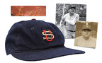 Baseball cap game-used by Babe Ruth during the historic 1934 Tour of Japan. $50,000 reserve. Grey Flannel Auctions image