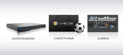 LiveXpert by 3D Storm, is a complete range of peripherals and add-ons developed to extend NewTek TriCaster and 3Play production workflows. LiveMixer deports and displays the audio mixer interface of TriCaster for a complete remote control on an external computer or audio console. LiveCG Football, the most accomplished software graphic and scoring solution to cover football games in stadiums and for television broadcast. LiveCG Broadcast is an innovative solution to send all the graphics needed in high professional television productions.  (PRNewsFoto/3D Storm)