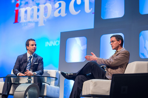 Sinan Kanatsiz, Chairman of IMA interviews Guy Yalif, Director of Global Product Marketing, Twitter.  (PRNewsFoto/Internet Marketing Association)