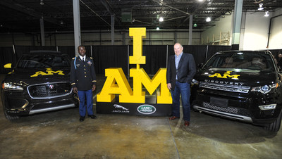 Will Reynolds, Captain of the 2016 U.S. Invictus Team (L) and Joe Eberhardt, President and CEO, Jaguar Land Rover North America (R) pose with new Jaguar F-PACE SUV, and a Land Rover Discovery Sport, ahead of the 2016  Invictus Games, the international sporting event for Wounded, Ill and Injured Service Members - presented by Jaguar Land Rover - which will take place in Orlando, FL May 8-12.