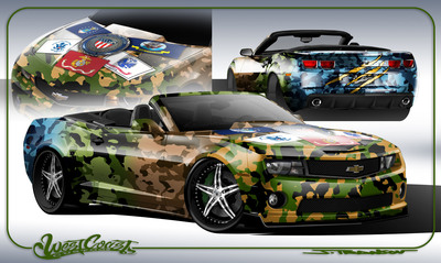 "2011 Chevy Camaro customized by West Coast Customs, will be auctioned at no reserve at the Mecum Dallas, TX Auction October 7th. All proceeds will be donated to ""Operation Mend"" to treat U.S. Military personnel severely wounded during service in Iraq and Afghanistan.  (PRNewsFoto/Mecum Auctions)"