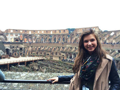 2013 Miss High School America, Annie Jorgensen, visits the Colosseum in Rome with People to People Ambassador Programs.