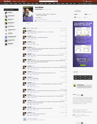 Ditto Trade (www.dittotrade.com) the only online broker to allow individuals to participate in the actual trades of experienced investors, and StockTwits (www.stocktwits.com) the leading online communications platform for the financial and investing community, today announced the launch of a new Premium Ditto Profile. Members of the StockTwits community who offer their trading or alerts services through Ditto Trade will be identifiable to followers on StockTwits via the new profile, thereby allowing StockTwits members the ability to monetize their social capital.Utilizing Ditto Trade's platform, StockTwits members can now elect to attach to the actual trades of those they follow.  (PRNewsFoto/Ditto Trade)