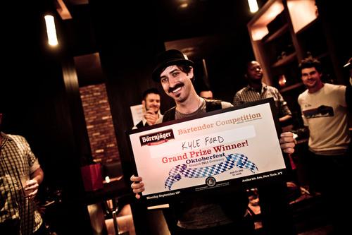 Grand Prize Winner of 2nd Annual National Barenjager Bartender Competition - Kyle Ford.  (PRNewsFoto/Barenjager  ...